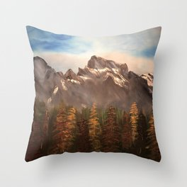 The Three Sisters - Mountain range inspired by Canmore / Banff Alberta, Canada Throw Pillow
