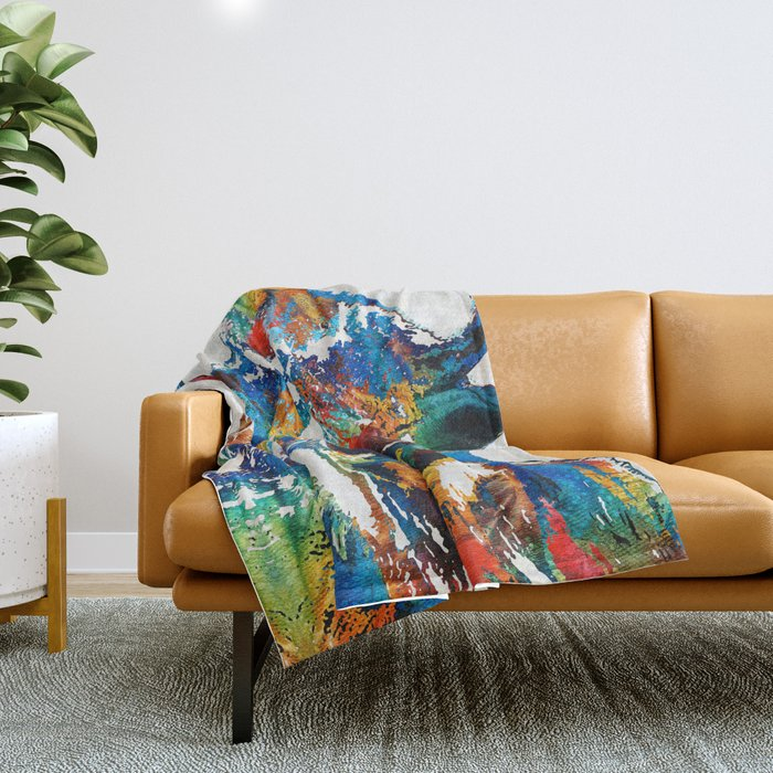 Colorful Buffalo Art - Sacred - By Sharon Cummings Throw Blanket