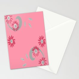 Floral Scroll Design - Strawberry Red Stationery Cards