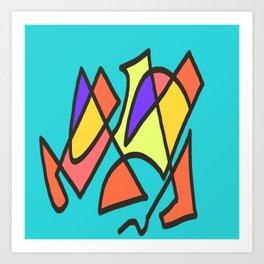 Blue blue multicolor Art Print
