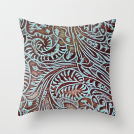 Light Blue & Brown Tooled Leather Throw Pillow