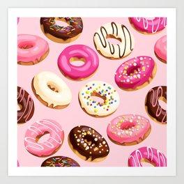 Retro Pink Doughnuts Art Print