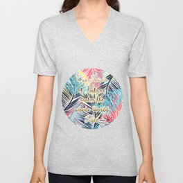 Tropical leaves Nature gold quote design Unisex V-Neck