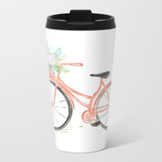 Coral Spring bicycle with flowers Metal Travel Mug