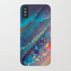 Electric Blue Floral Dew   iPhone X Slim Case