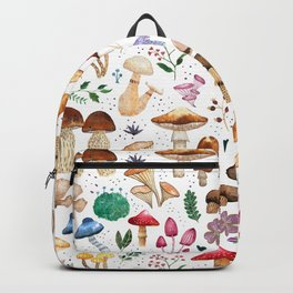 Watercolor forest mushroom illustration and plants Backpack