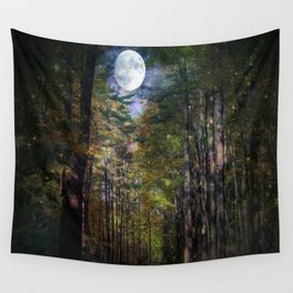 Magical Moonlit Forest Wall Tapestry