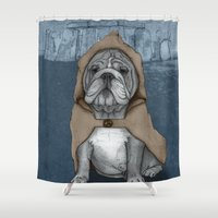 english bulldog Shower Curtains featuring English Bulldog in Stonehenge by Barruf