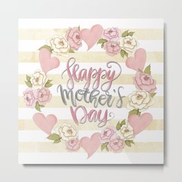 Happy Mothers Day Wreath Metal Print
