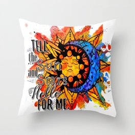 Sun and Stars Watercolor With Quote Throw Pillow