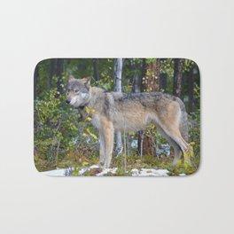 Wolf encounter in Jasper National Park Bath Mat