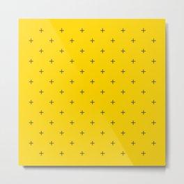 Crosses on Bright Mustard Yellow Metal Print