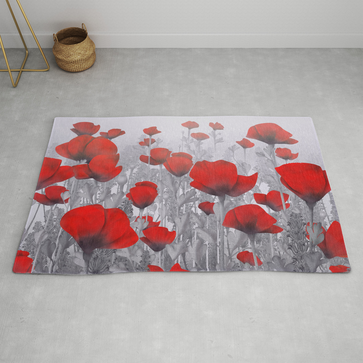 Poppies In Red And Grey Rug By