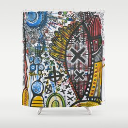 Feathers or Rockets Shower Curtain