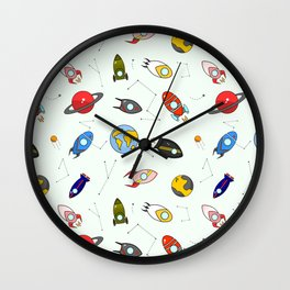 Rockets and planets space print Wall Clock