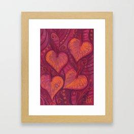 Hearty Flowers / Anthurium, pink, red & orange Framed Art Print