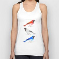 jay fleck Tank Tops featuring Red jay, white jay, blue jay. by The animals moved to - society6.com/dian