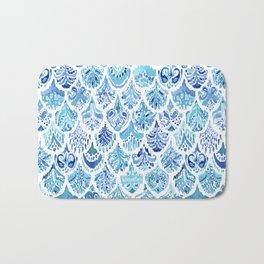 PAISLEY MERMAID Watercolor Scale Pattern Bath Mat