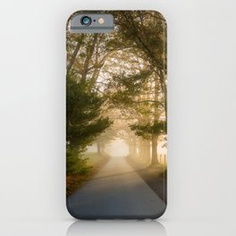 Daylight and Mist - Road with Warm Light in Great Smoky Mountains iPhone Case