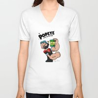 popeye V-neck T-shirts featuring Popeye The Hipster by Biagio Black