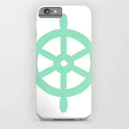 Ship Wheel (Mint & White) iPhone Case