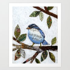 Original Art Painting Collage ... Songbird Art Print