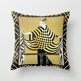 Erte - Art Deco Lady Pillow Throw Throw Pillow