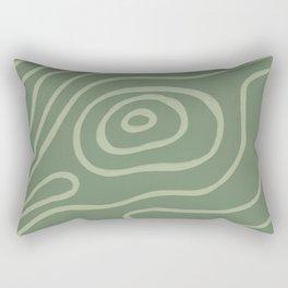 Topographic Map / Grayish Green Rectangular Pillow