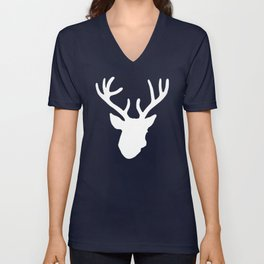 Deer Head: White Unisex V-Neck