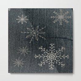 Denim Snowflake Metal Print