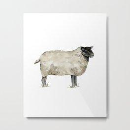 Sheep, Farmhouse Watercolor, Rustic Painting Metal Print