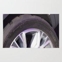 volkswagen Area & Throw Rugs featuring Volkswagen Taigun tire by Mauricio Santana