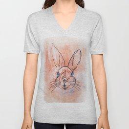 Pretty  pink watercolor rabbit hand paint Unisex V-Neck