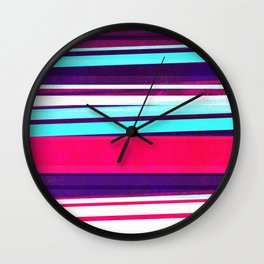 teal & red strips  Wall Clock
