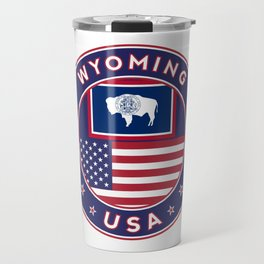 Wyoming, USA States, Wyoming t-shirt, Wyoming sticker, circle Travel Mug