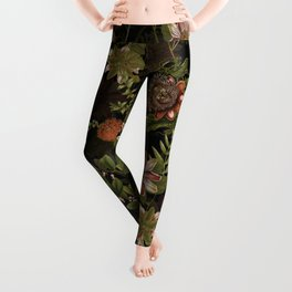 Midnight Summer Sepia Exotic Passiflora Flowers Garden Leggings