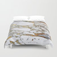 android Duvet Covers featuring Gold Marble by Jenna Davis Designs