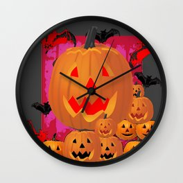 HALLOWEEN JACK O'LANTERNS & BATS ART Wall Clock