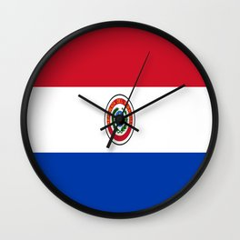 flag of paraguay -paraguyan,asuncion,spanish, south america, latin america,pan flute,coffee,forest Wall Clock