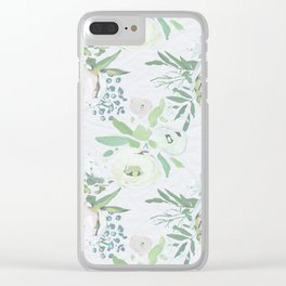Blush pink white green watercolor modern floral berries pattern Clear iPhone Case