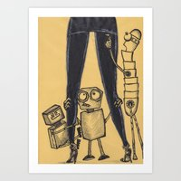 Yield! Robots and Women Art Print