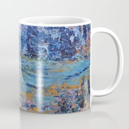 Abstract Landscape Palette Knife Painting, Rainbow Lake, Navy Blue, Gold, Green Coffee Mug