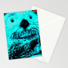 Sea Otter, mint green Stationery Cards