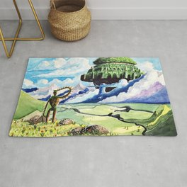 Laputa, Relaxing Dreamy Cloud, Blue Sky, Green Scenery Painting, Japanese animation Rug