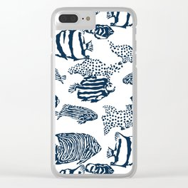 fish pattern vector illustration with stripes and dots Clear iPhone Case