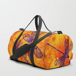 Navy-blue embroidered dragonflies on textured vivid orange background Duffle Bag