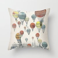 black cat Throw Pillows featuring Voyages over Edinburgh by David Fleck