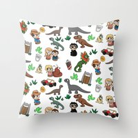 jurassic park Throw Pillows featuring Jurassic Park Bits by Lacey Simpson