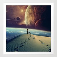 dog Art Prints featuring Explorer by POP.