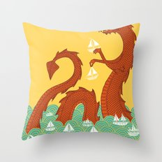 It's a Good Day to be a Sea Monster Throw Pillow